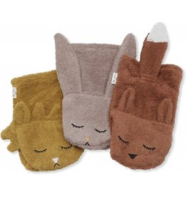 Konges Slojd Konges Slojd wash cloths animals girl 3-pack