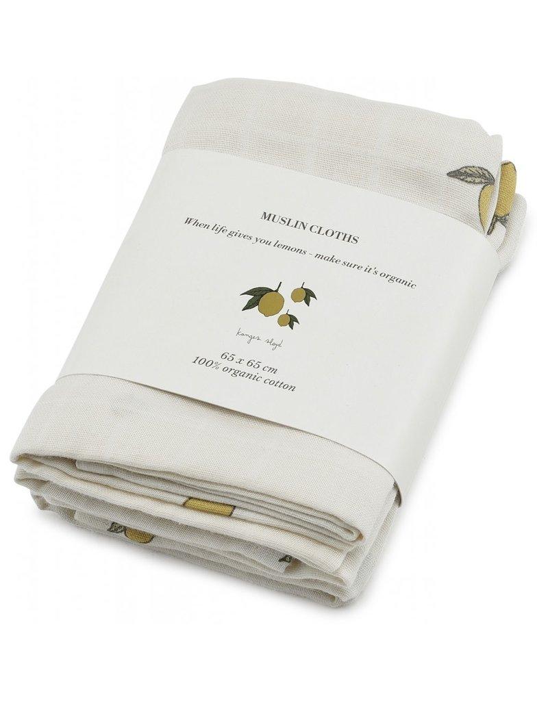 Konges Slojd Konges Slojd 3-pack muslin cloths lemon