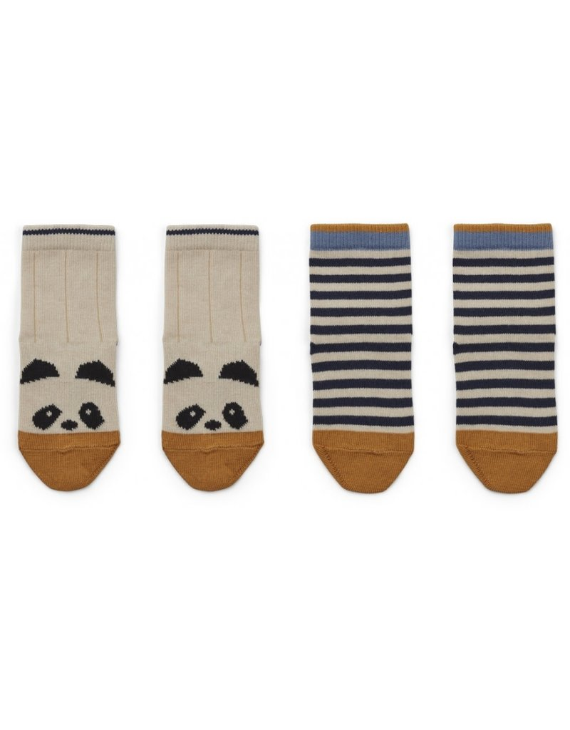 Liewood Liewood Silas kousjes 2-pack panda/stripe ecru