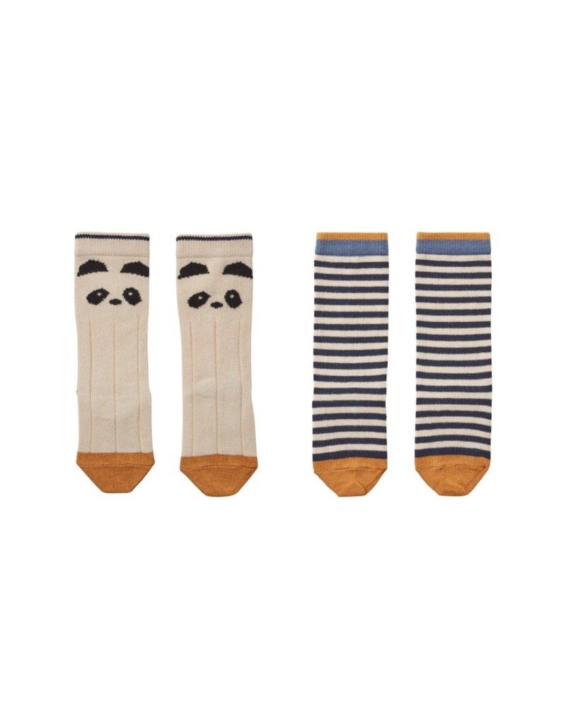 Liewood Liewood Sofia kniekousjes 2-pack panda/stripe ecru