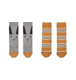 Liewood Liewood Sofia kniekousjes 2-pack rabbit/stripe mustard