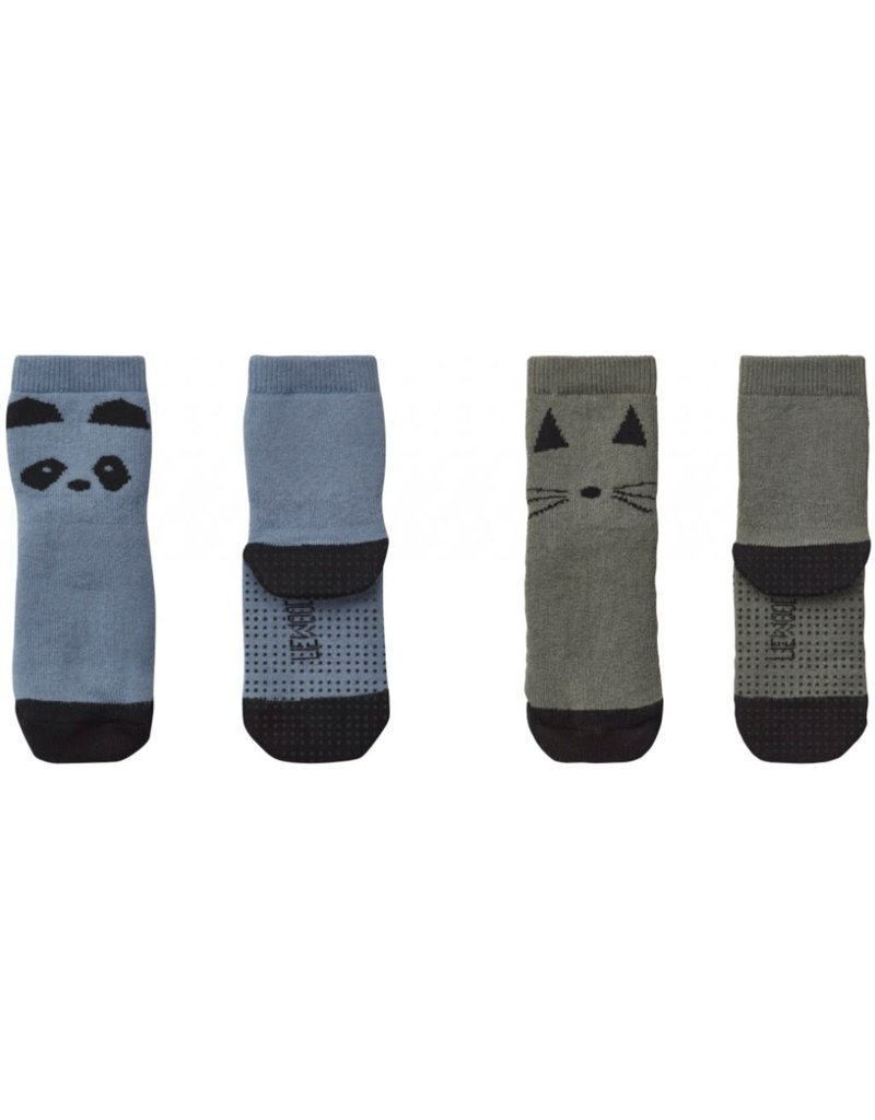 Liewood Liewood Nellie anti-slip kousjes 2-pack panda blue wave