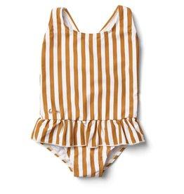 Liewood Liewood Amara swimsuit stripe mustard/creme de la creme
