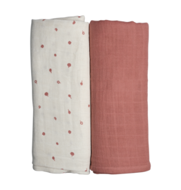 Fabelab Fabelab set of 2 swaddles wild berry