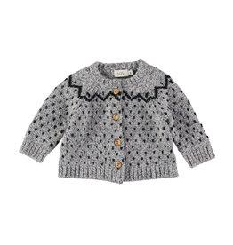 Buho Buho Cookie jacquard knit cardigan grey