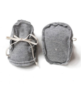 Gray Label Gray Label baby raw edged booties grey melange