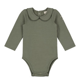 Gray Label Gray Label baby onesie with collar moss