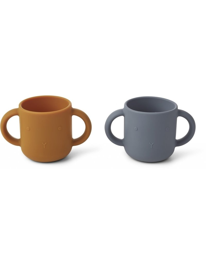 Liewood Liewood Gene silicone cup 2-pack rabbit blue wave