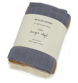 Konges Slojd Konges Slojd 3-pack muslin cloths french blue