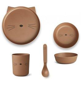 Liewood Liewood eetset bamboo cat terracotta
