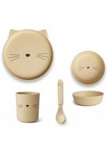 Liewood Liewood eetset bamboo cat smoothie yellow