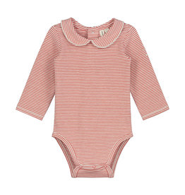 Gray Label Gray Label Baby Collar Onesie Faded Red/Cream stripe