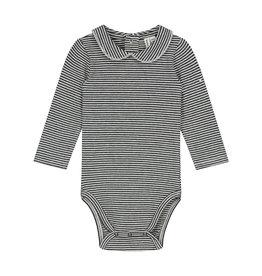 Gray Label Gray Label Baby Collar Onesie Nearly Black/Cream stripe