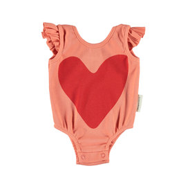Piupiuchick Piupiuchick Ribbed body with frills coral w/red heart