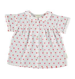 Piupiuchick Piupiuchick Peter Pan collar blouse white w/red hearts