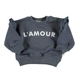 Piupiuchick Piupiuchick Sweatshirt w/shoulder frills grey w/white