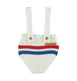 Piupiuchick Piupiuchick Knitted shorties with straps off-white w/stripes