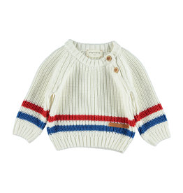 Piupiuchick Piupiuchick Knitted sweater off-white and 2-color striped