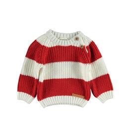 Piupiuchick Piupiuchick Knitted sweater red & white stripes