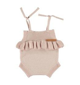 Piupiuchick Piupiuchick Knitted baby romper w/frills pale pink