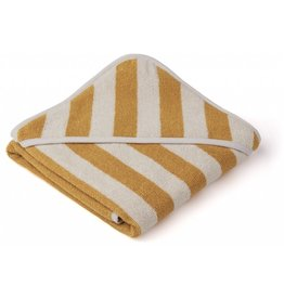 Liewood Liewood Alba hooded baby towel 70x70cm stripe yellow mellow/sandy