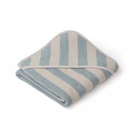 Liewood Liewood Alba hooded baby towel 70x70cm stripe sea blue/sandy