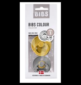 BIBS BIBS fopspeen T1 0-6 maanden moustard/smoke