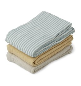 Liewood Liewood Line muslin cloth 3-pack sea blue stripe mix