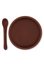 Konges Slojd Konges Slojd bowl & spoon silicone set mocca
