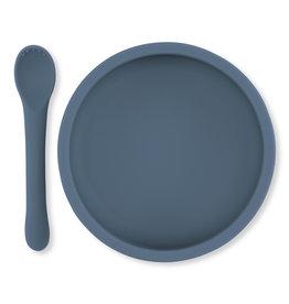 Konges Slojd Konges Slojd bowl & spoon silicone set blue