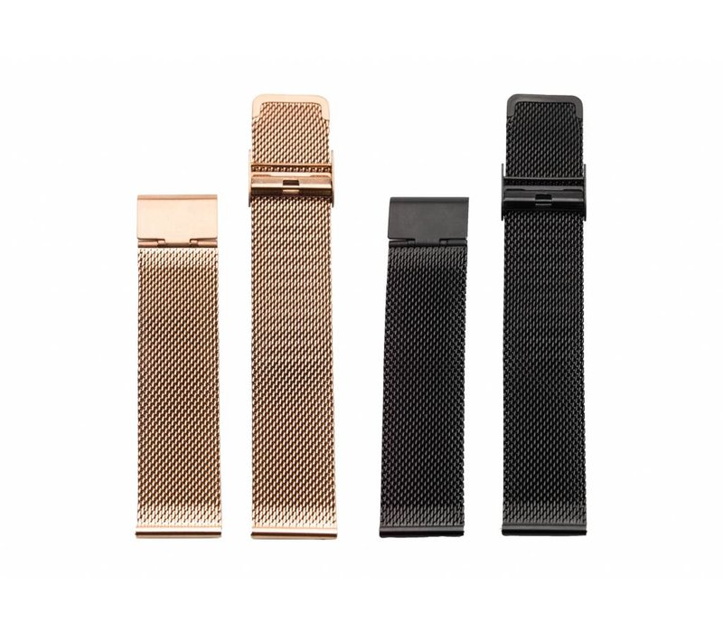Black & Rose Gold mesh strap duo package