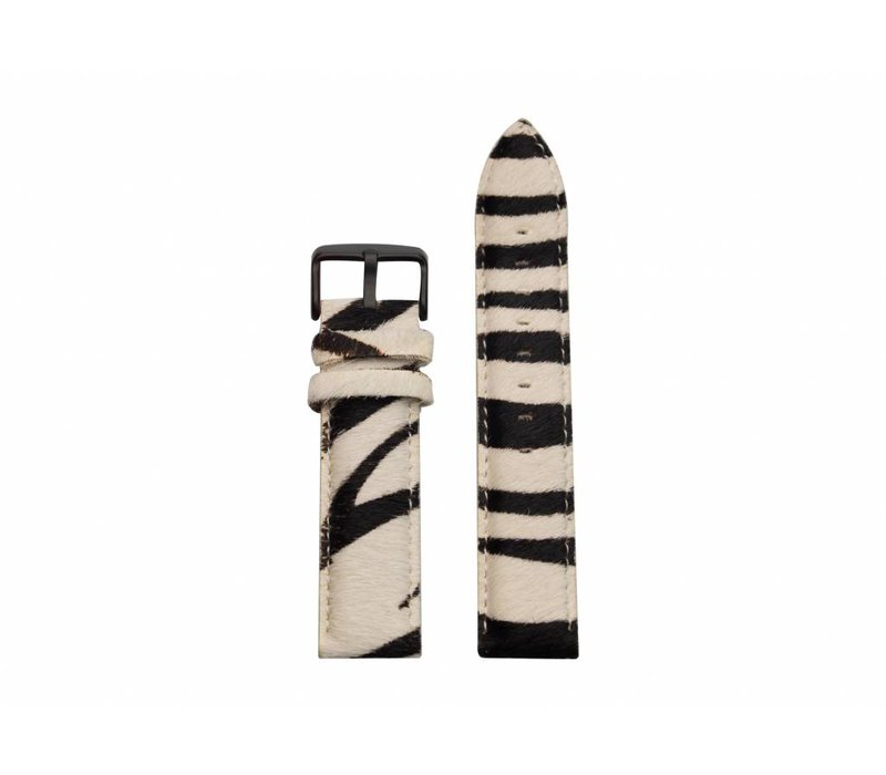Zebra Furry strap - black buckle