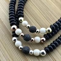 Armband zwart crème lava
