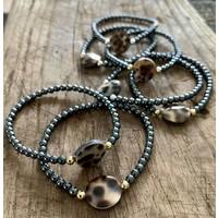 Armband luipaard  hematiet