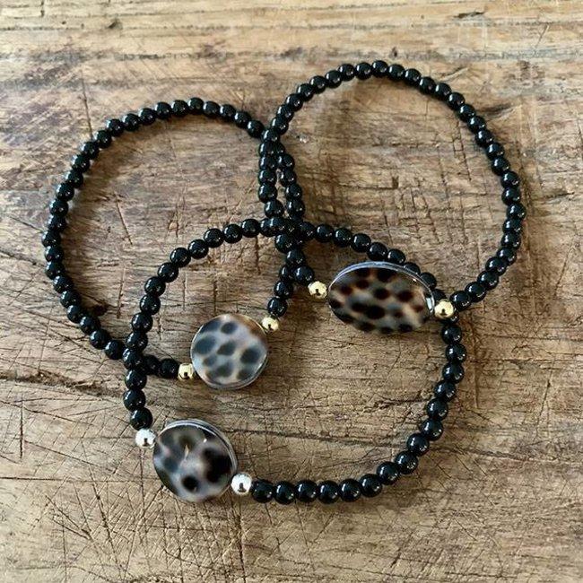 AziBi-iBizA Armband luipaard  zwart