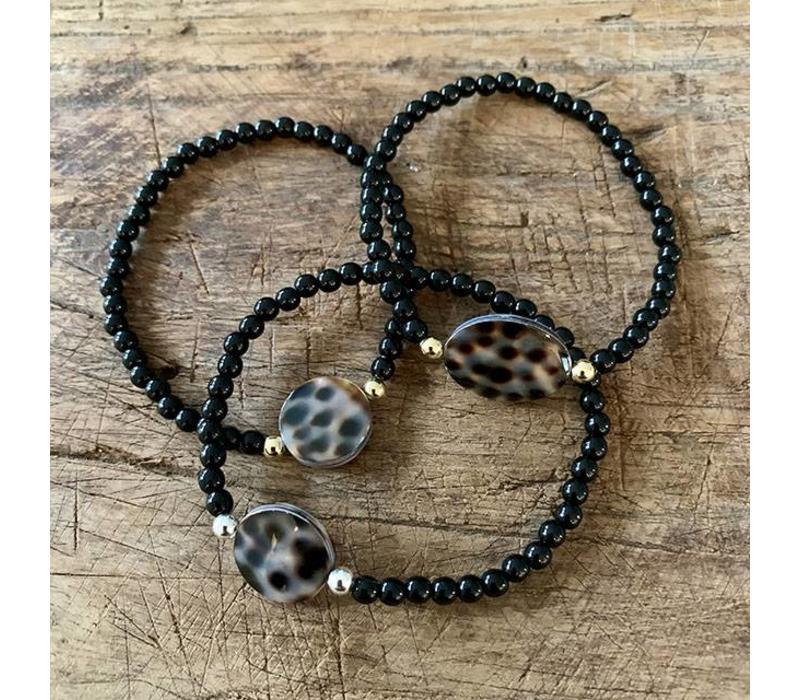 Armband luipaard  zwart
