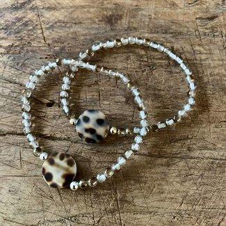 AziBi-iBizA Armband luipaard  bruin/goud