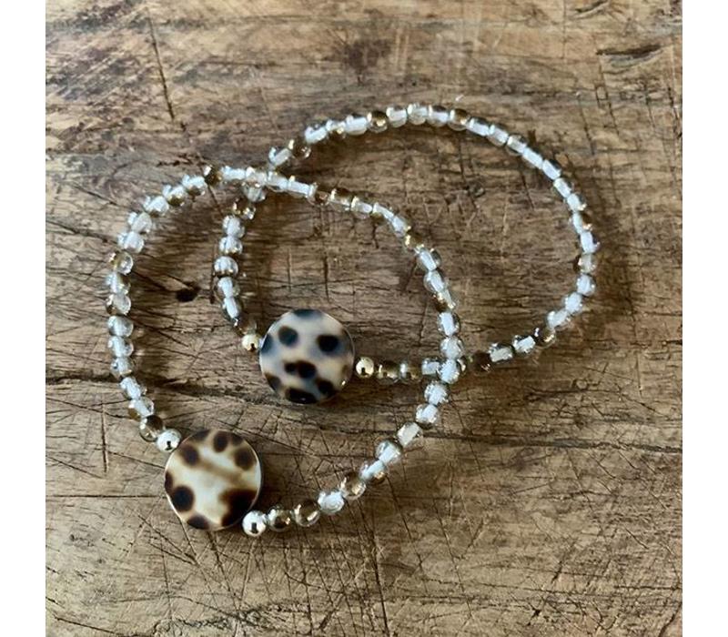 Armband luipaard  bruin/goud