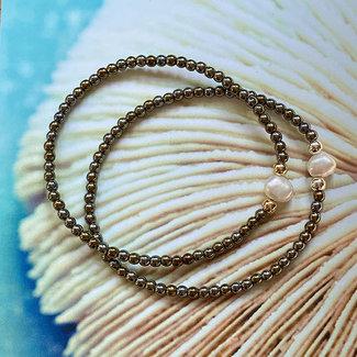 AziBi-iBizA Armband parel donkergroen glans