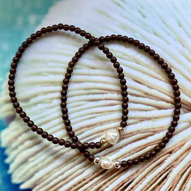Armband parel  bruin