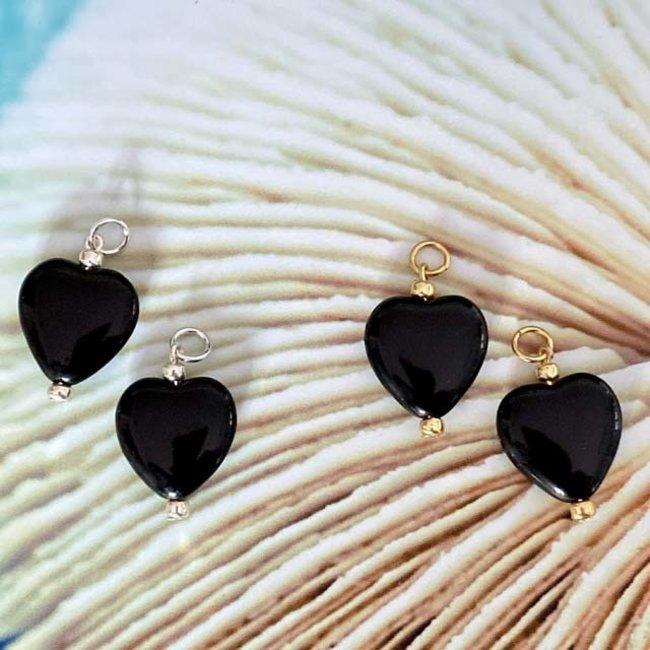 Oorbel hangers los hart zwart