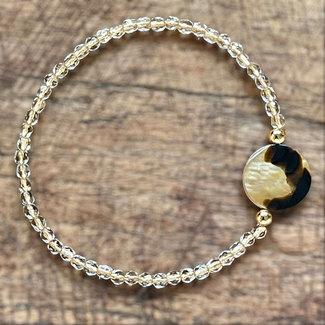 AziBi-iBizA Armband brownlip schelp goudlijn