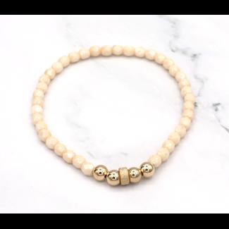 Crème Armband goud 4 mm.