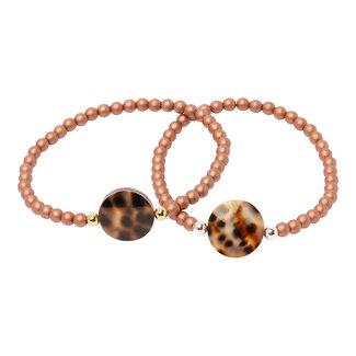 Oudroze  armband luipaard schelp