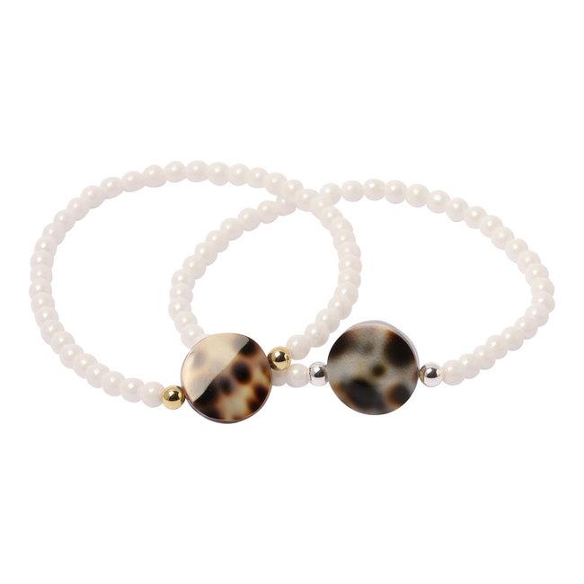 Witte armband luipaard schelp