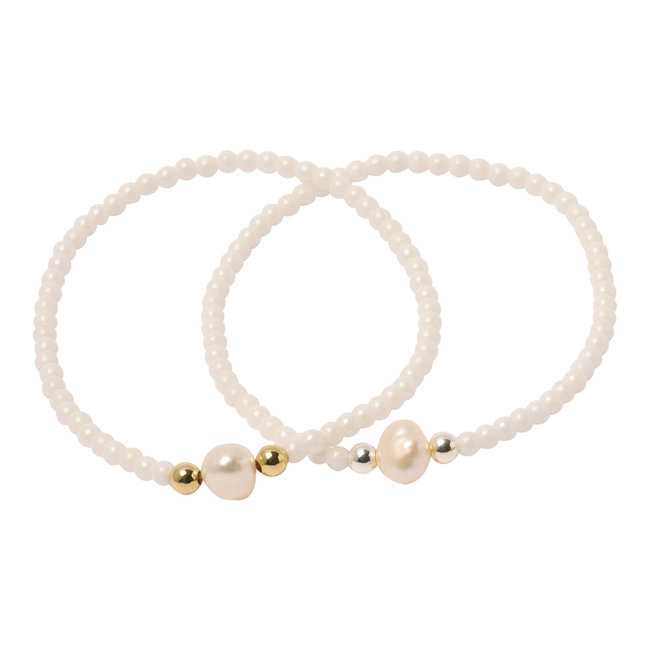 Witte armband parel