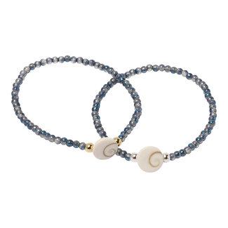 Blauwe glans armband Shiva schelp