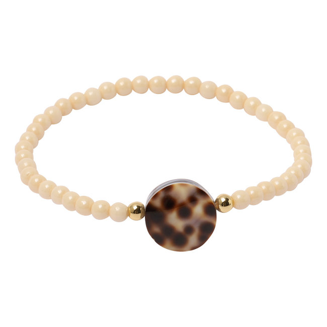 Crème armband luipaard schelp
