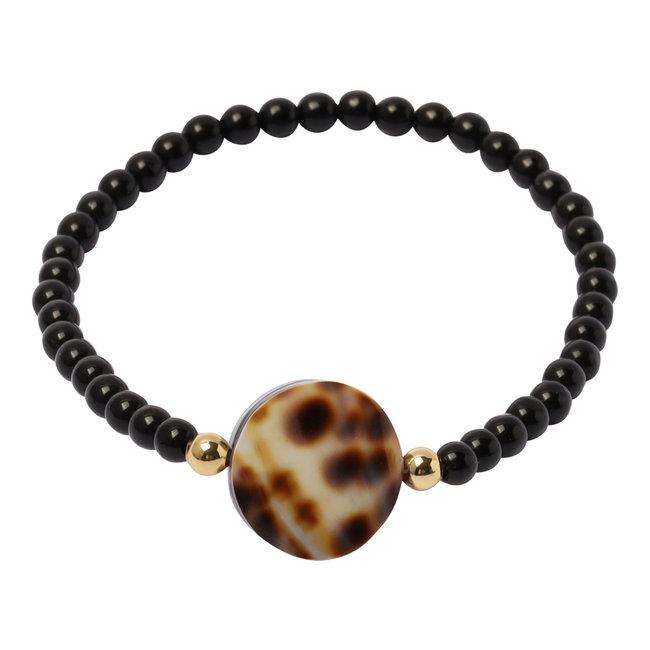 Zwarte armband luipaard schelp