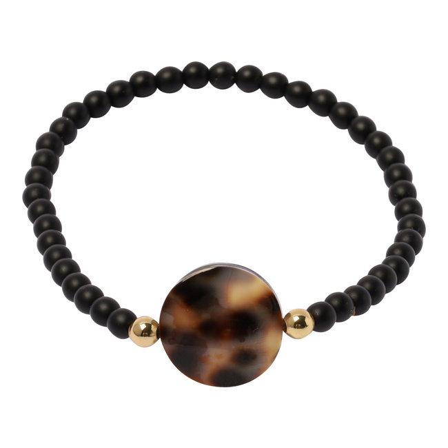 Mat zwarte armband luipaard schelp
